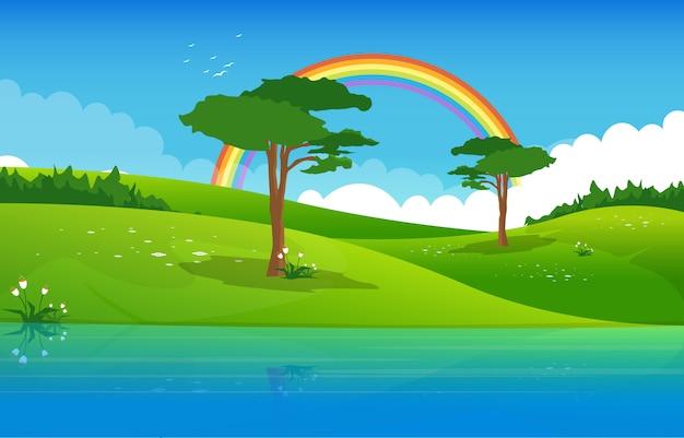 夏の湖の緑の自然フィールド土地空の風景イラスト