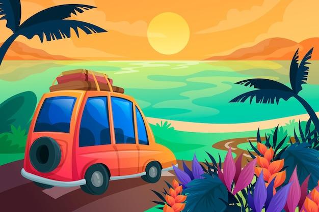 ズームデザインの夏の風景の背景