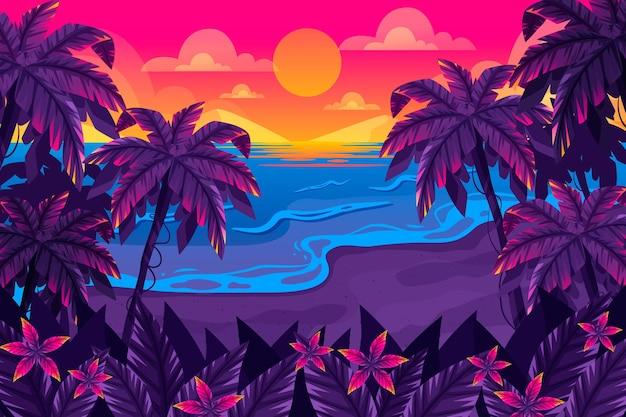 확대 / 축소를위한 여름 풍경 배경