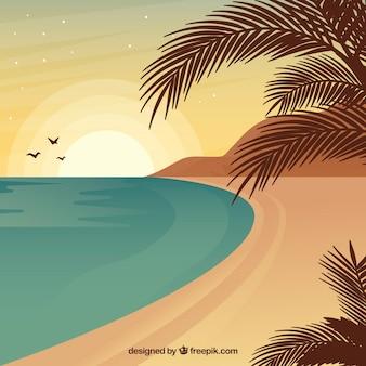 フラットデザインの夏の風景の背景