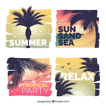 Summer landscape background set in flat design