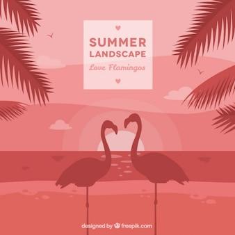 Summer landscape background with flamingos couple