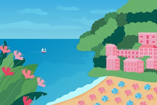 Summer landscape background for zoom design