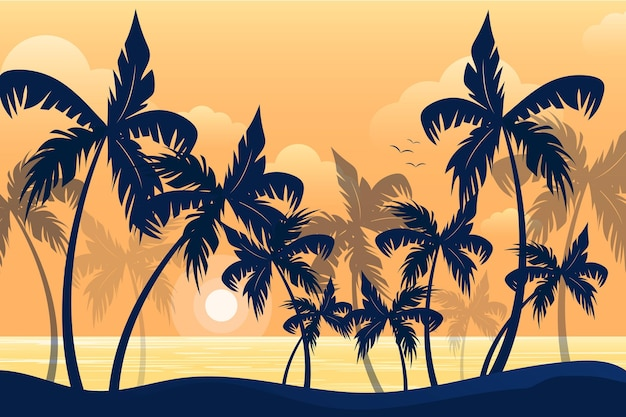 Summer landscape background for zoom with palm tree silhouettes