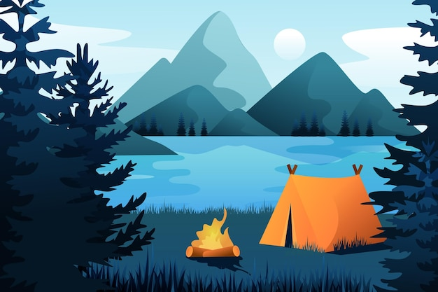 Summer landscape background for zoom with tent and mountains