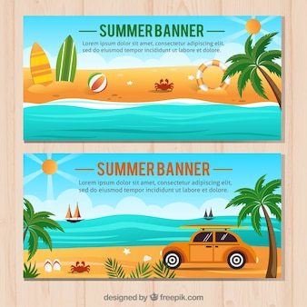 Summer landscape banners with palm trees