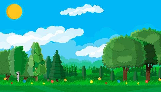 여름 풍경 개념입니다. 푸른 숲과 푸른 하늘. 시골의 구불구불한 언덕. 언덕, 수평선에 꽃 나무입니다. 평면 스타일의 벡터 일러스트 레이 션