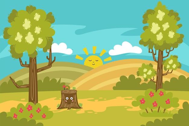 여름 풍경 숲 가장자리 만화 숲 자연 세로 배경 나무 초원