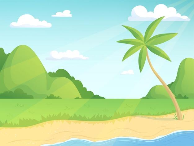 Летний пейзаж зеленые холмы, пальмы и приморские с травой и водой простой открытый мультфильм иллюстрации фона