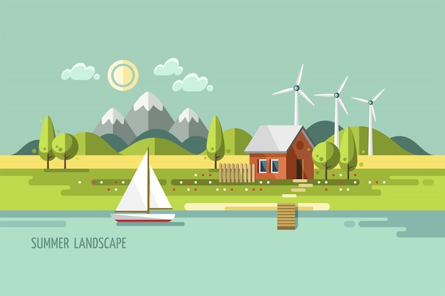 夏の風景です。自然の家。フラットなデザインスタイルのイラスト。