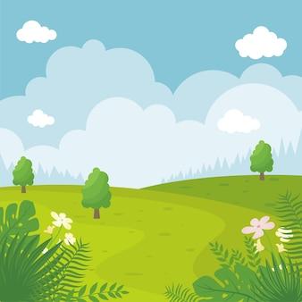 夏の風景イラスト、フラットな漫画のスタイルでシンプルでトレンディ