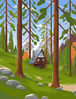 Летний пейзаж в национальном парке в сша. пейзаж леса в парке. панорама леса в национальном парке канады. красивый пейзаж. векторная иллюстрация. eps 10