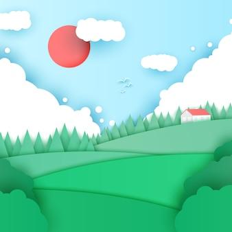 Летний пейзаж в стиле оригами