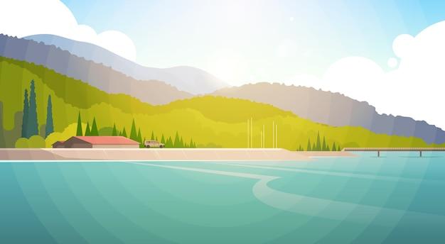 Summer landscape mountain forest sky woods seaside