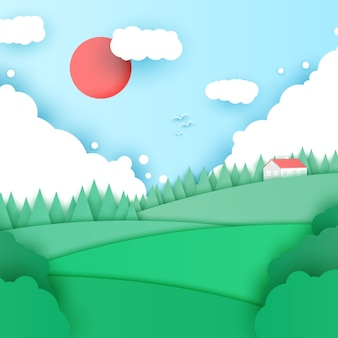 Summer landscape in origami style background