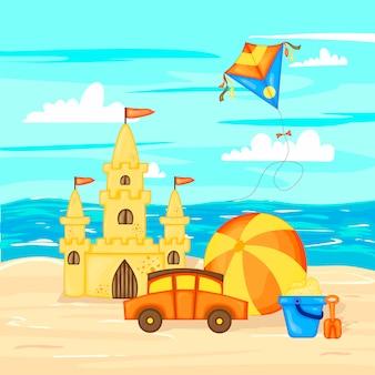 夏の風景の海と砂。