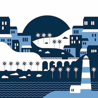 Summer landscape of the seaside city  with a lighthouse in flat style