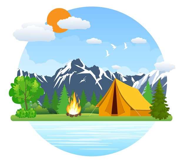 Summer landscape tent and bonfire in mountains near lake
