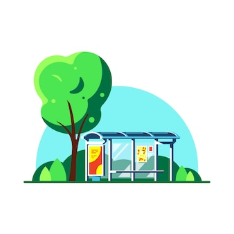 Летний пейзаж с автобусной остановкой и деревом, изолированные на белом фоне. .