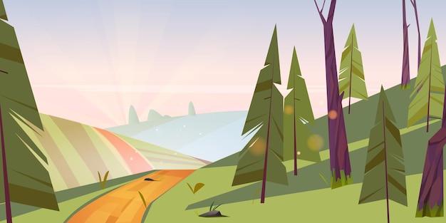 Летний пейзаж с зелеными полями, холмами и хвойным лесом на утреннем векторном мультфильме illustratio ...