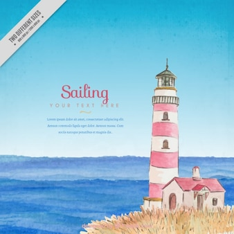 Summer landscape with a hand drawn lighthouse background