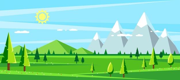 언덕 산과 나무와 여름 풍경 안녕하세요 여름 컨셉 일러스트