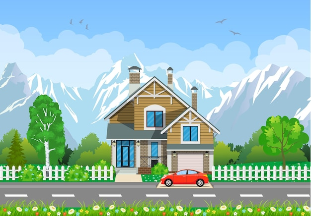 Summer landscape with house.