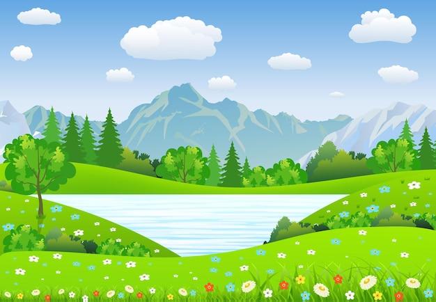 초원과 산이 있는 여름 풍경.