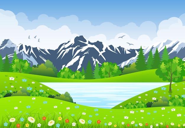 牧草地と山々のある夏の風景。