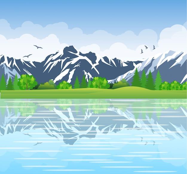 Летний пейзаж с лугами и горами.