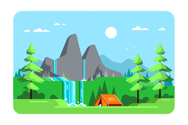 山と滝のある夏の風景