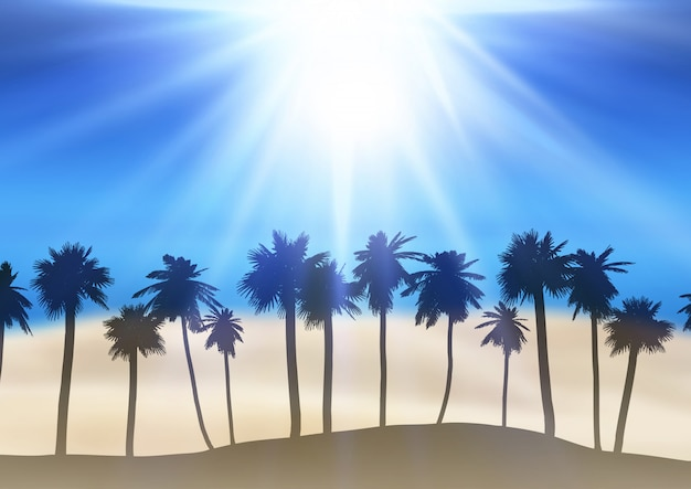 Summer landscape with palm tree silhouettes