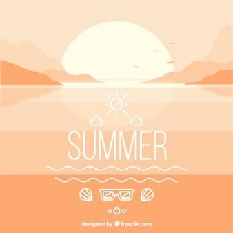 Summer landscape with sunset