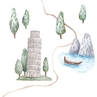 Летний пейзаж с деревьями и горами пизанская башня акварель детская иллюстрация