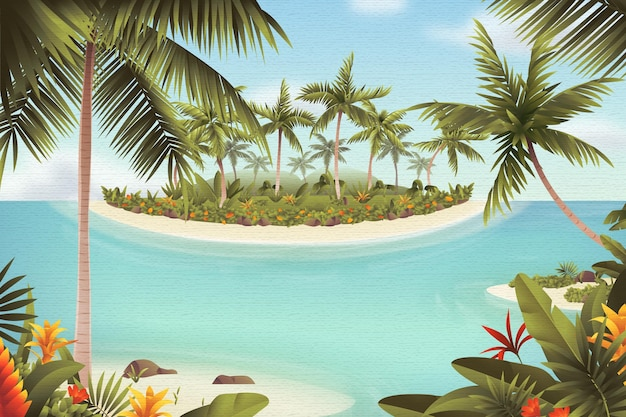 Summer landscape zoom background with sea