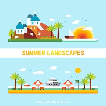 Summer landscapes in flat design