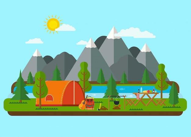 여름 풍경. 강 근처 산에서 텐트와 피크닉 바베 큐. 하이킹과 캠핑.