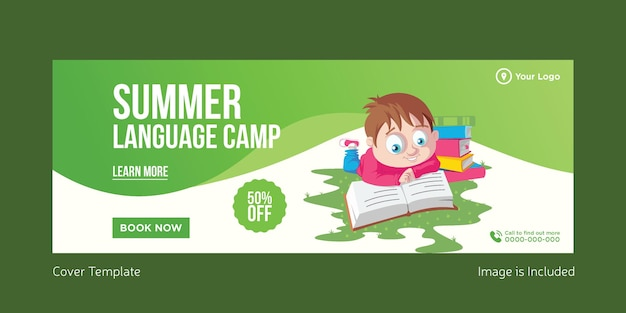 Summer language camp cover page design