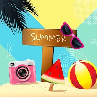 Лето, макет, поздравительная открытка, обложка, баннер, графика