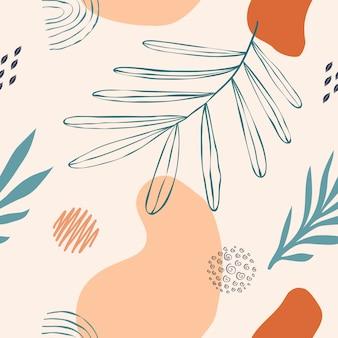Летние листья фон в пастельных тонах