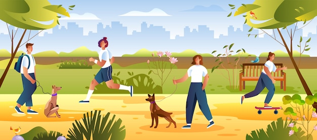 Summer leisure concept with female and male characters waling their dogs.