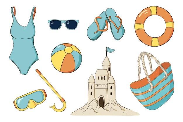 여름 레저 항목을 설정합니다. 손으로 그린 바다 휴가 활동 액세서리. 스노클링 고글, 수영복, 수영 반지, 비치 볼, 슬리퍼, 비치 백, 모래 성 및 선글라스. 프리미엄 벡터