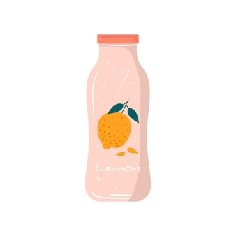 과일과 열매가 있는 병 아이콘의 여름 레몬 주스. 비건 레모네이드와 건강한 디톡스 칵테일. 야채 믹스, 청량 음료 및 주스 바용 상쾌한 비타민 아이스 셰이크. 벡터 유행