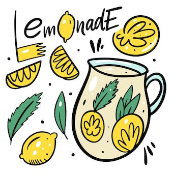 Summer lemonade drink. organic product. hand drawn lemon, mint, jar and lettering. cartoon style.  illustration. isolated on white background. design for menu cafe and bar.