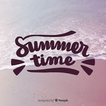 Summer lettering background with image