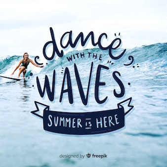 Summer lettering background with photo