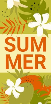 Summer lettering banner white flower dots and green plant red leaves vertical template