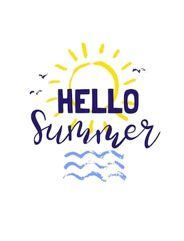 Summer lettering .bright phrases about the summer, the sun and vacation. hand-drawn caligraphy is ideal for flyers, postcards, labels and unique designs. vector