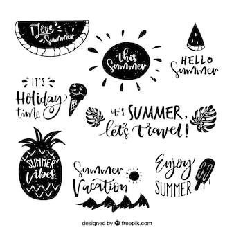 Summer lettering concept with badges