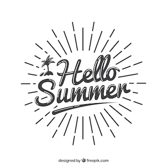 Summer lettering concept with sunrays